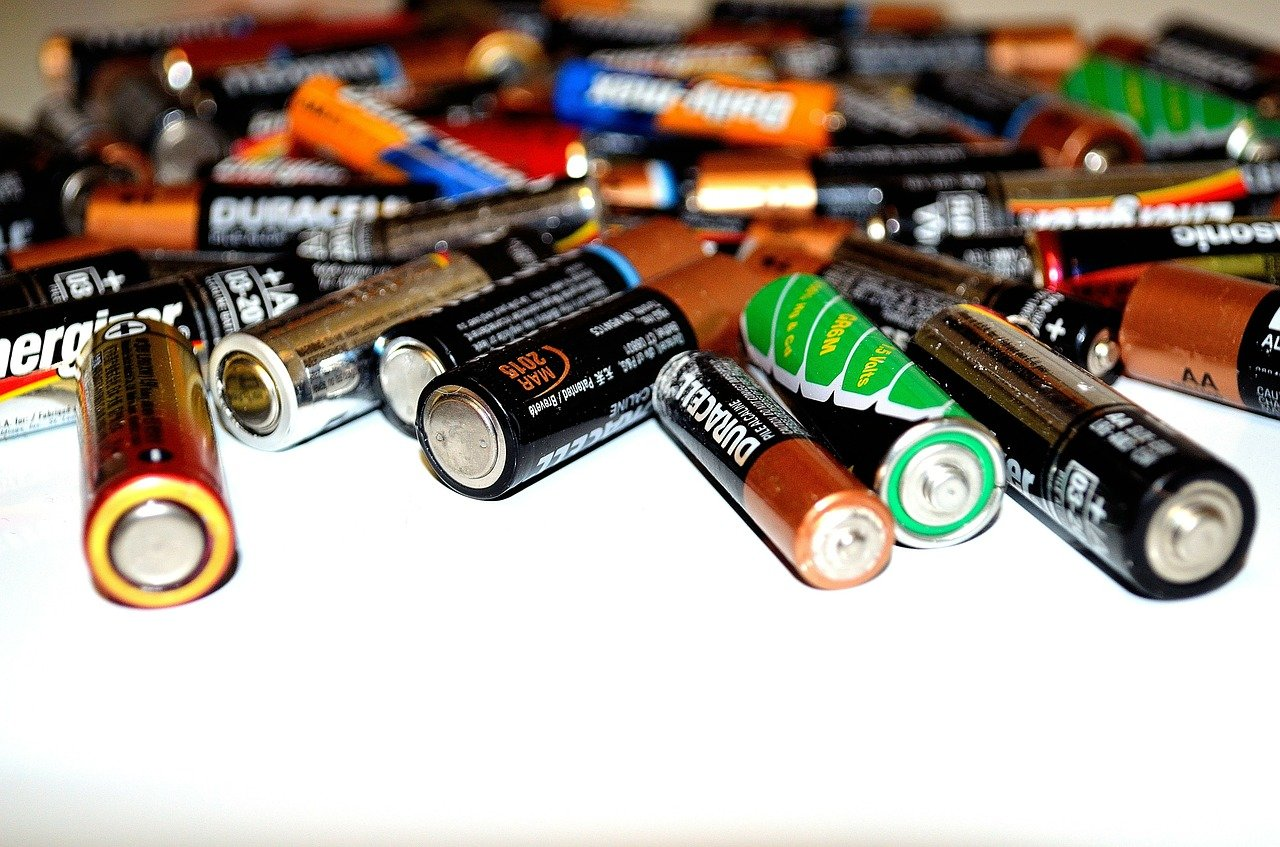 Pile of AA and AAA batteries