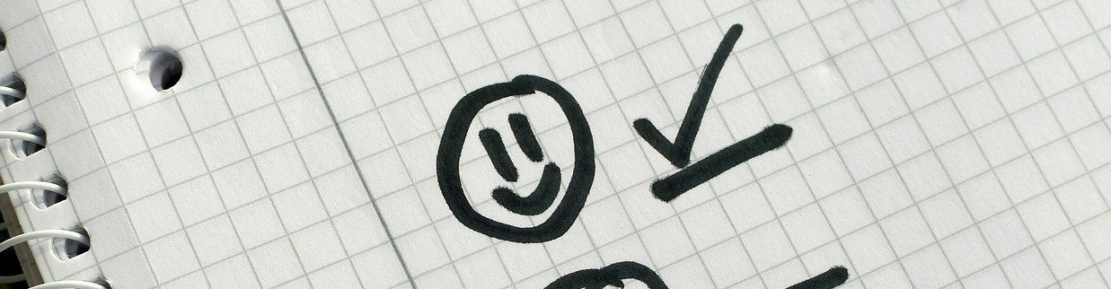 checkmark on list with smiley face