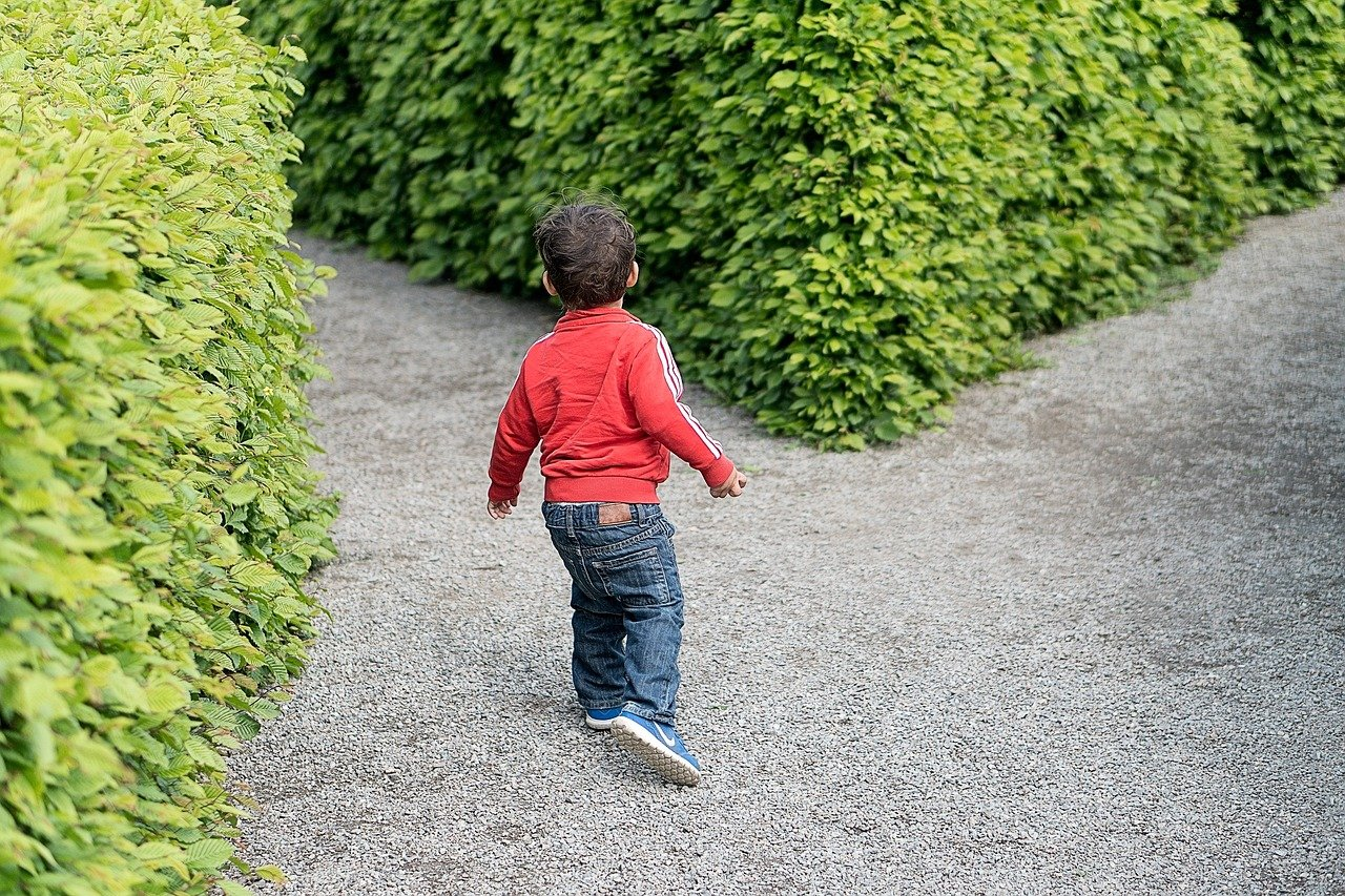 child at fork in a pathway