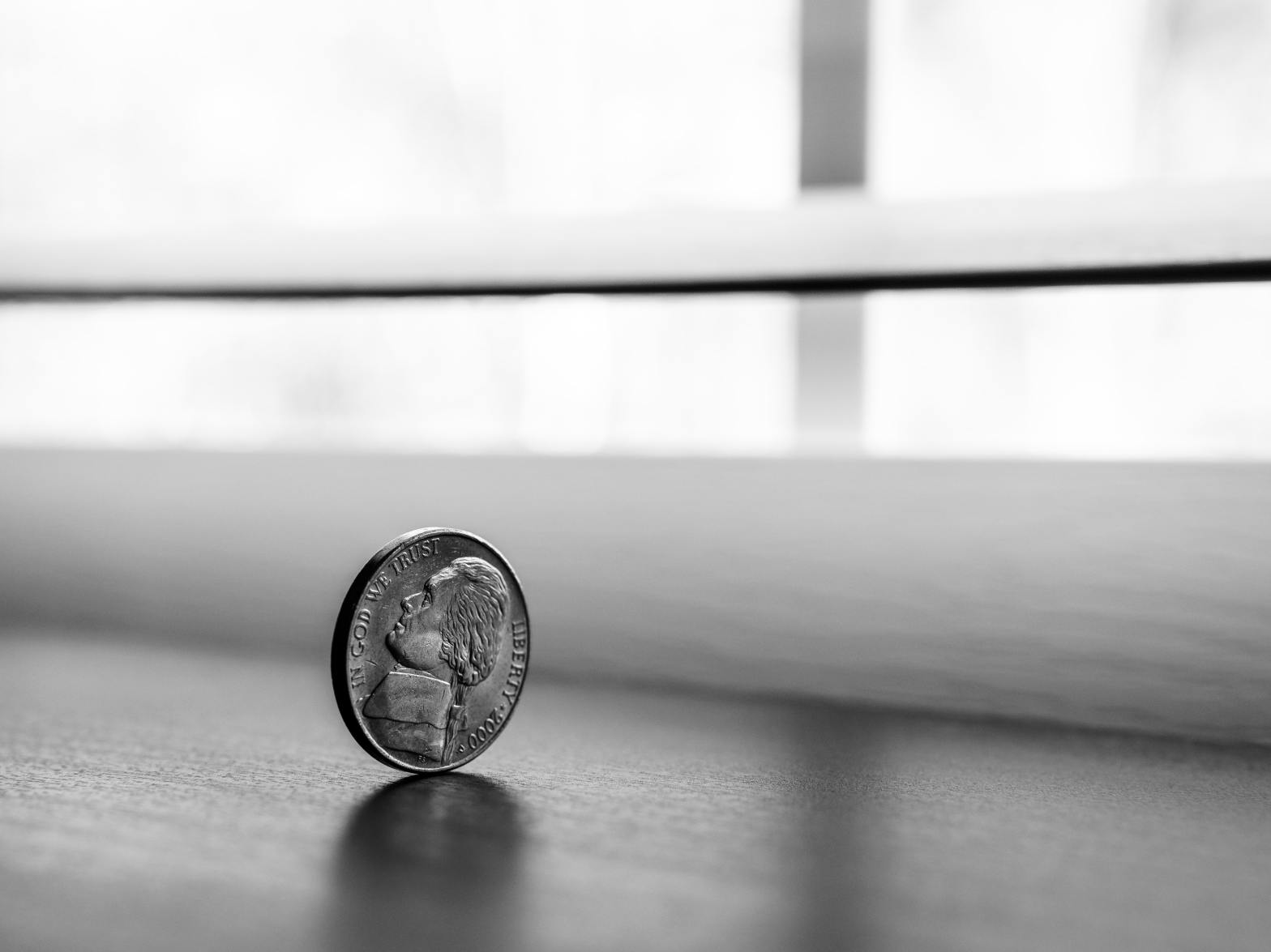 Nickel coin on its edge