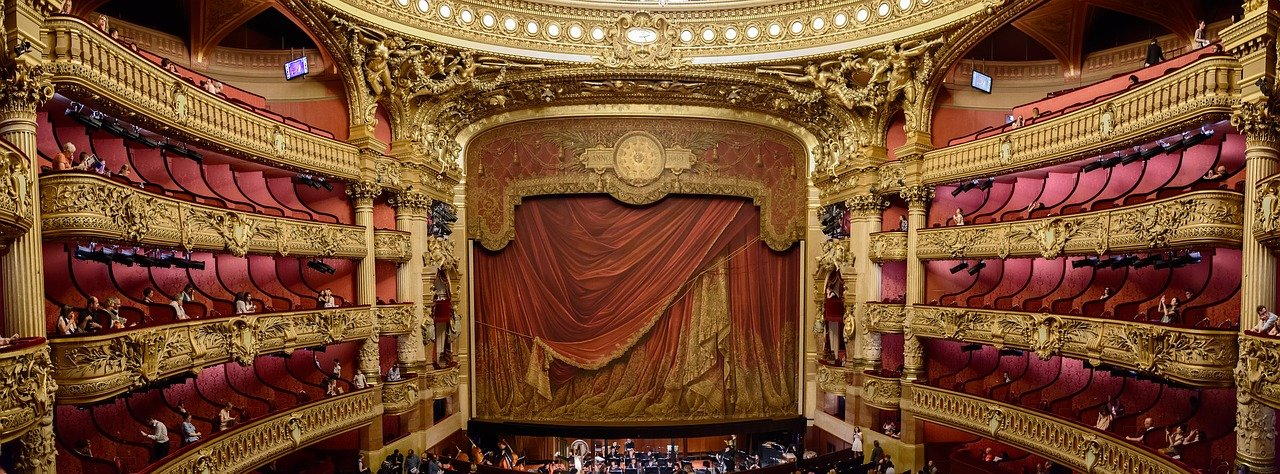 Old theater with heavy curtain