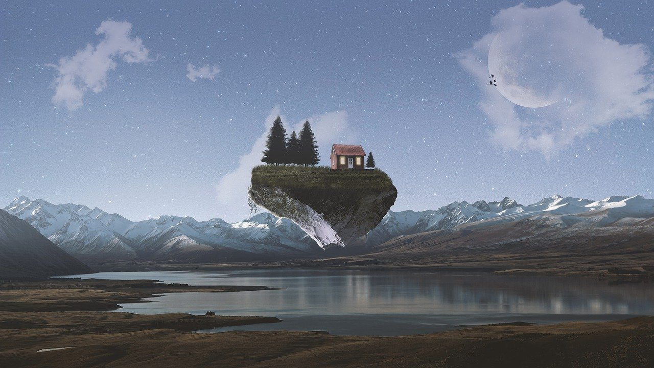 illustration of house floating with mountains and lake