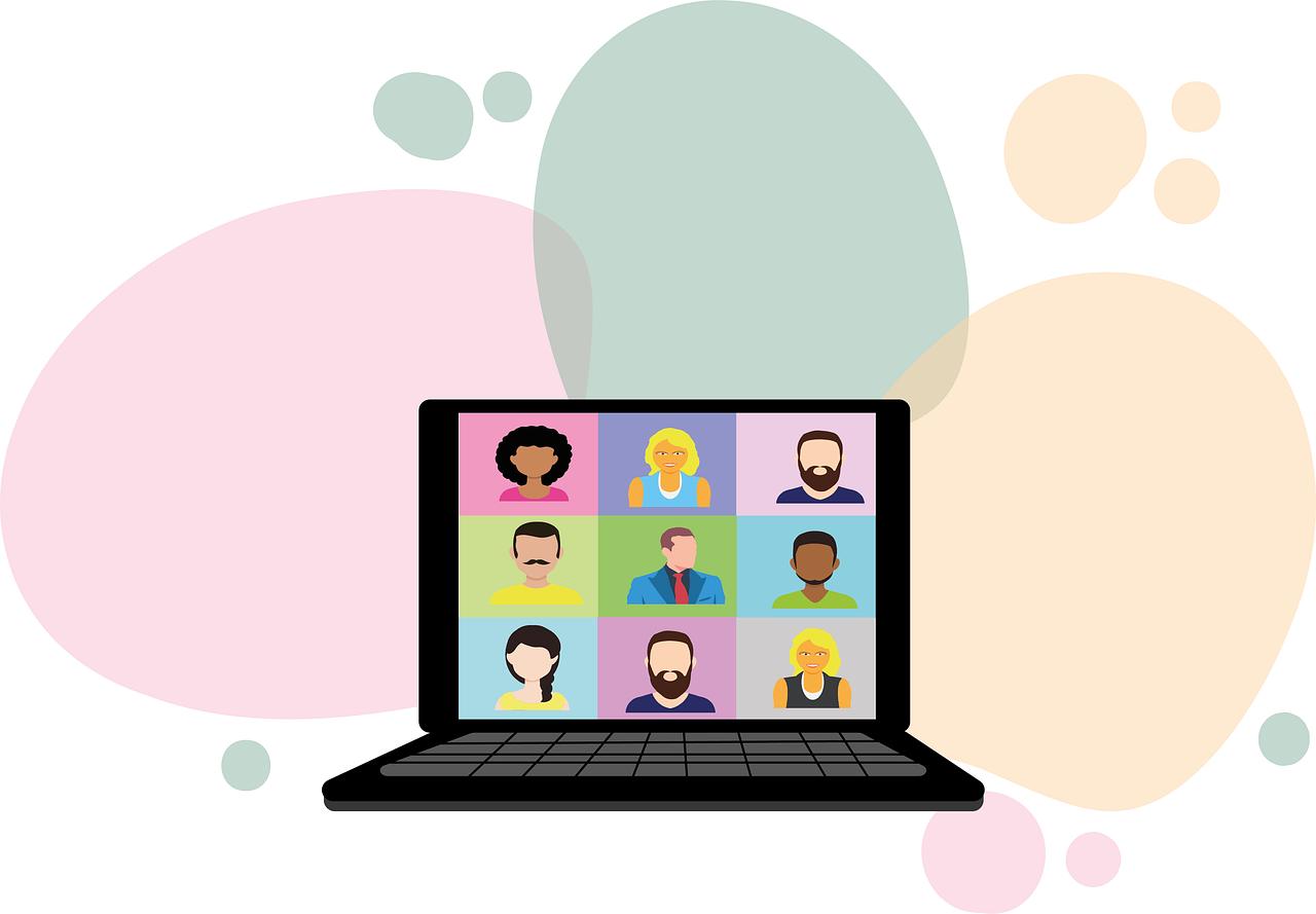 illustration of zoom meeting on laptop