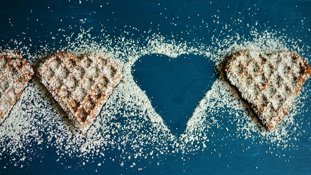 row of heart-shaped waffles, one is missing