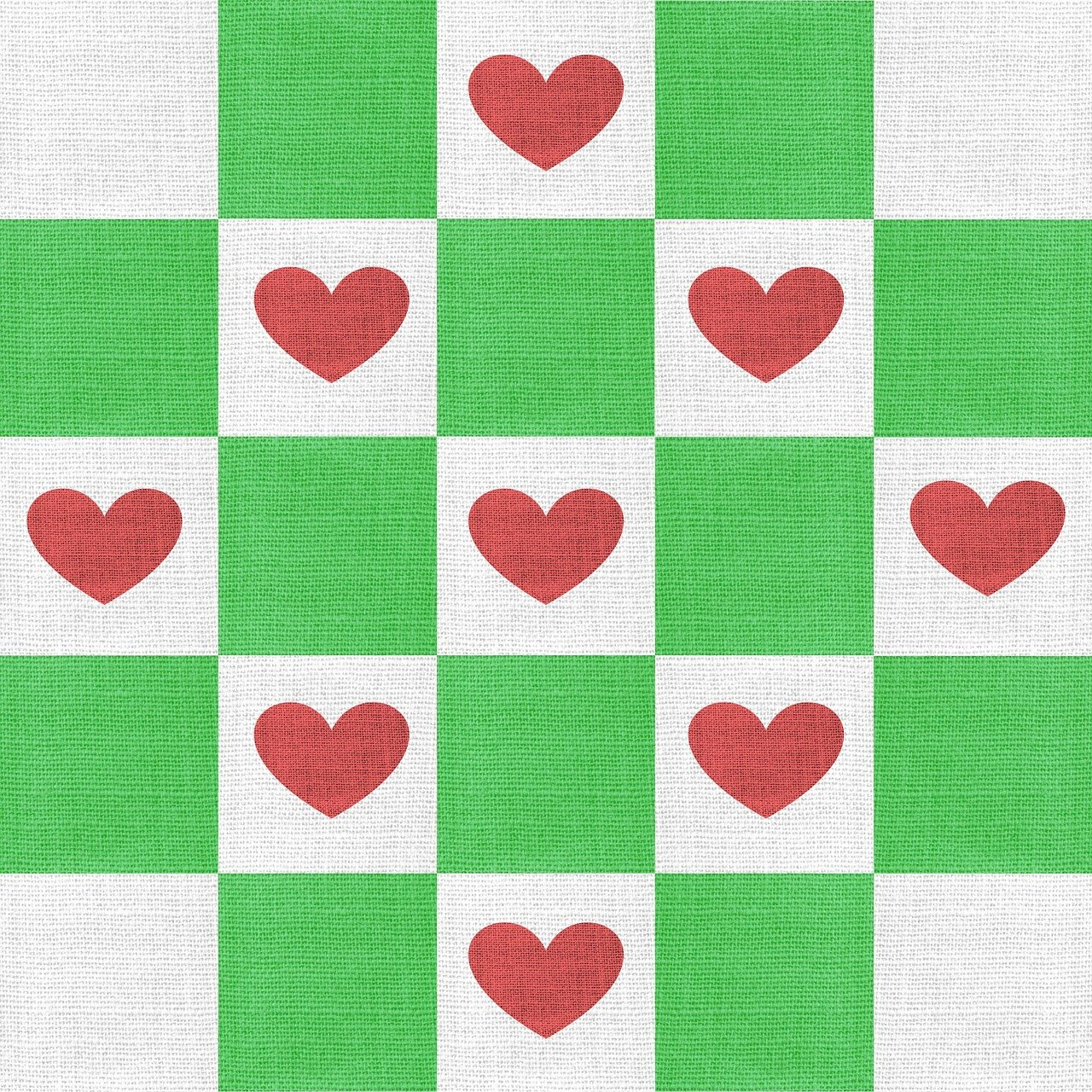 checkerboard with green squares and red hearts