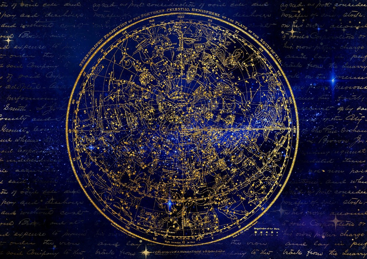 antique sky map of constellations