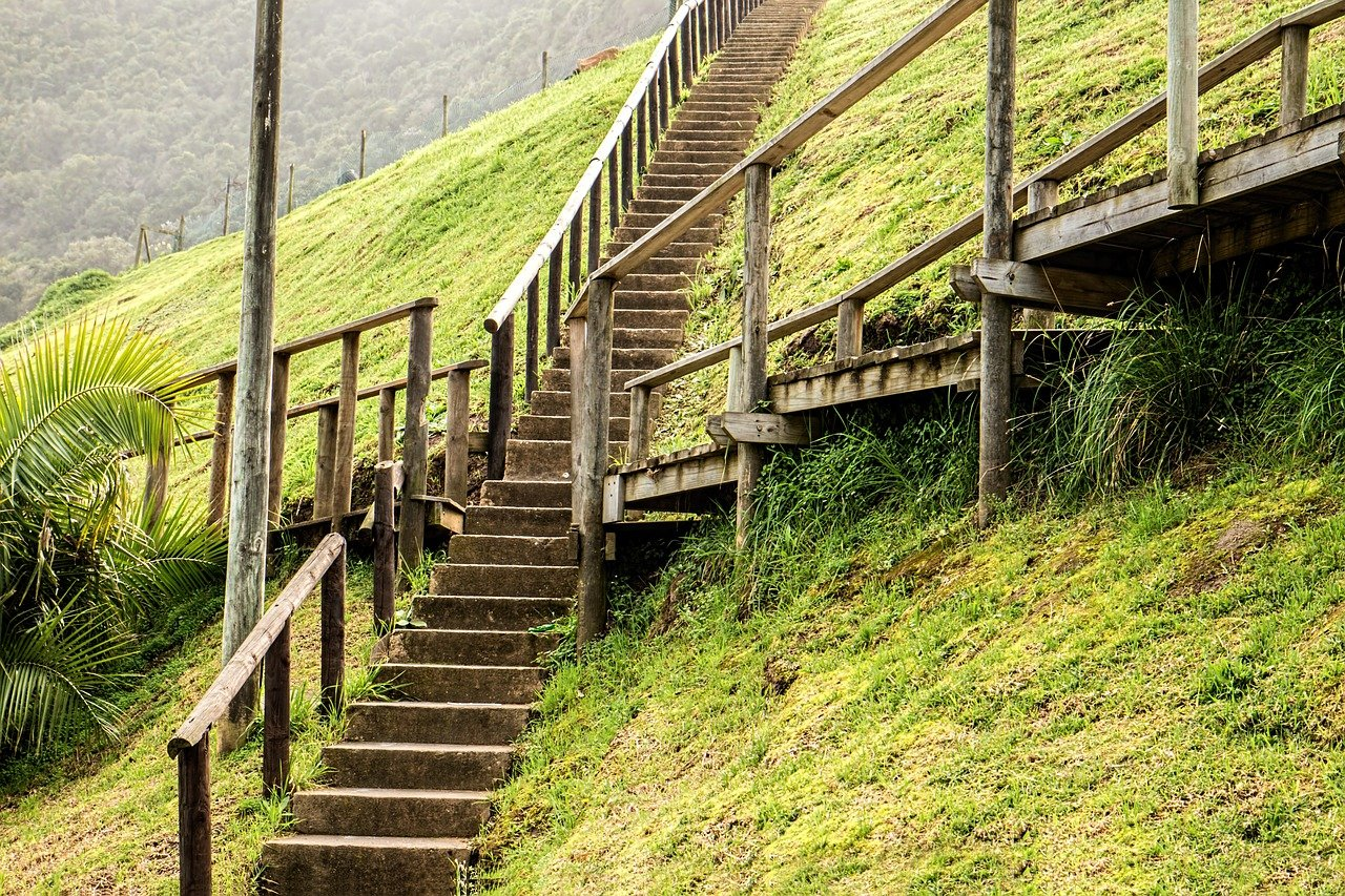 steep hill with intersecting staircases