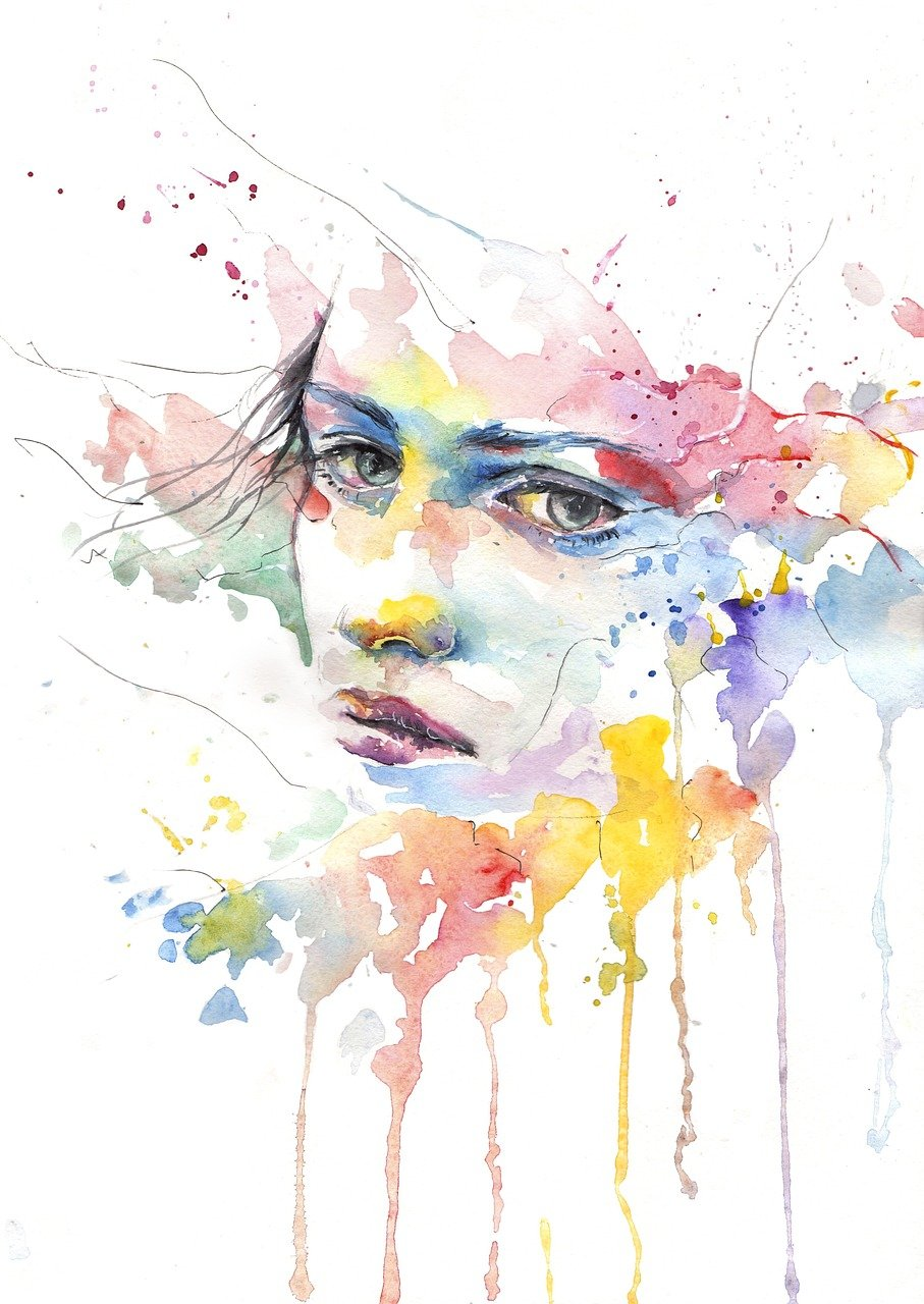 watercolor illustration woman's face, sad expression