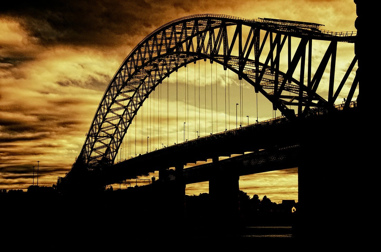 silhouette of bridge and sunset